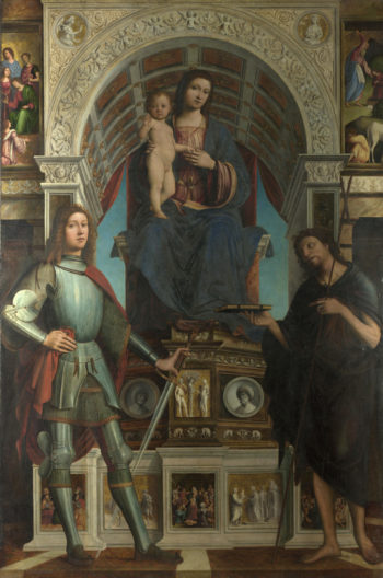 The Virgin and Child with Saints | Lorenzo Costa and Gianfrancesco Maineri | oil painting