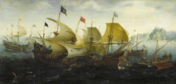 Battle of Cadiz. 1608   Aert Anthonisz.   oil painting