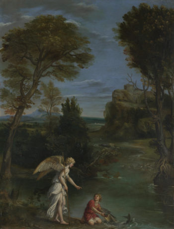 Landscape with Tobias laying hold of the Fish | Domenichino | oil painting