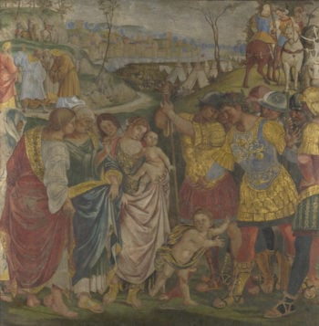 Coriolanus persuaded by his Family to spare Rome | Luca Signorelli | oil painting