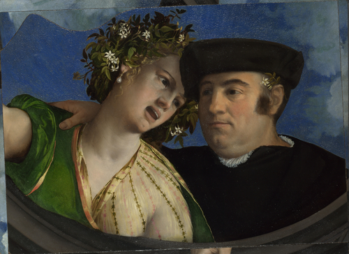 A Man embracing a Woman   Dosso Dossi   oil painting