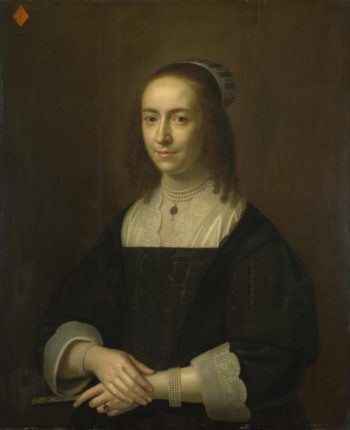 Portrait of a Lady with a Fan   Dutch   oil painting