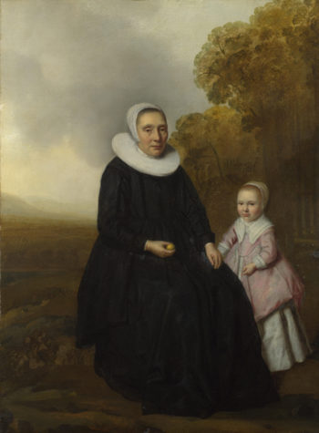 Portrait of a Seated Woman and a Girl in a Landscape   Dutch   oil painting