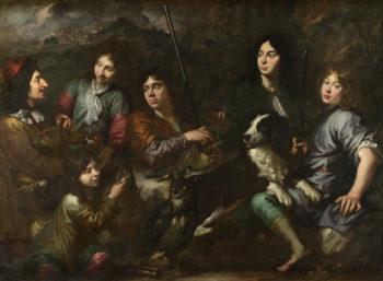Sportsmen Resting   Dutch   oil painting