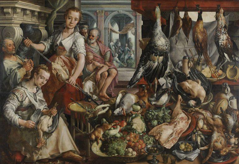 The Well-stocked Kitchen. 1566   Joachim Beuckelaer   oil painting