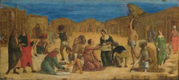 The Israelites gathering Manna | Ercole de' Roberti | oil painting