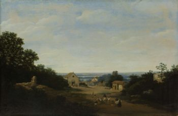 Brazilian landscape with the village Igara??. Cosmas and left the Damianuskerk. 1659 | Frans Jansz. Post | oil painting