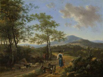 Italian landscape with shepherds. 1650 - 1692 | Willem de Heusch | oil painting