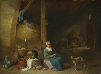 An Old Woman peeling Pears | Follower of David Teniers the Younger | oil painting
