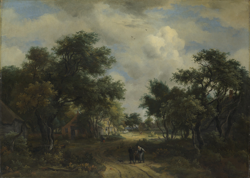 A Road winding past Cottages | Meindert Hobbema | oil painting