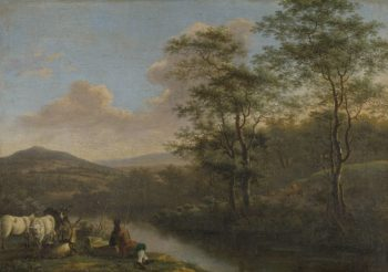 Italian landscape with resting shepherd. 1650 - 1692 | Willem de Heusch | oil painting