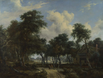 A Woody Landscape with a Cottage | Meindert Hobbema | oil painting