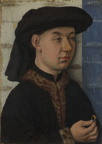 A Young Man holding a Ring | Follower of Jan van Eyck | oil painting