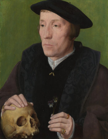 A Man with a Pansy and a Skull | Follower of Jan van Scorel | oil painting