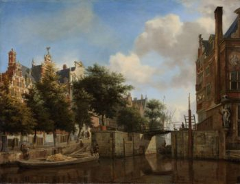 Amsterdam City View with Houses on the Herengracht and the old Haarlemmer Luis. ca. 1670 | Jan van der Heyden | oil painting