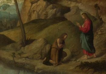 Christ blessing Saint John the Baptist | Moretto da Brescia | oil painting