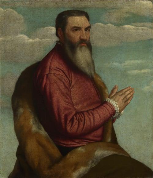 Praying Man with a Long Beard   Moretto da Brescia   oil painting