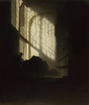 A Man seated reading at a Table in a Lofty Room | Follower of Rembrandt | oil painting