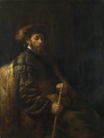 A Seated Man with a Stick | Follower of Rembrandt | oil painting