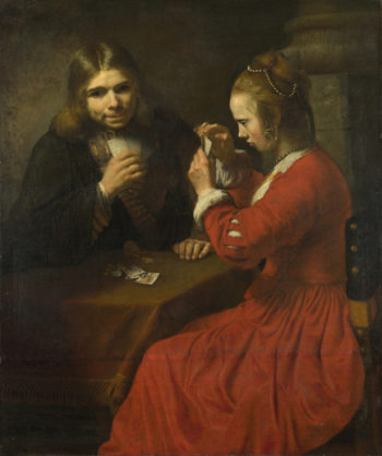 A Young Man and a Girl playing Cards | Follower of Rembrandt | oil painting