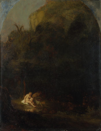 Diana bathing surprised by a Satyr | Follower of Rembrandt | oil painting