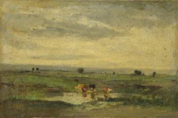 Cows at a Pool   Narcisse-Virgilio Diaz de la Peta   oil painting