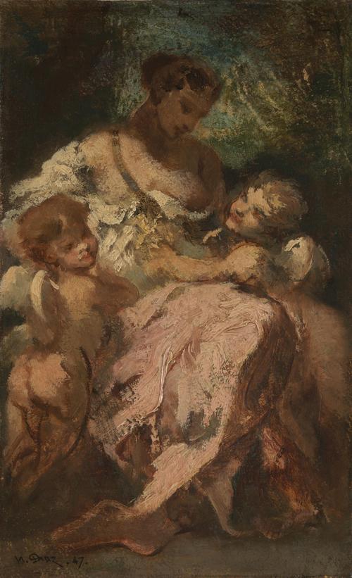 Venus and Two Cupids | Narcisse-Virgilio Diaz de la Peta | oil painting