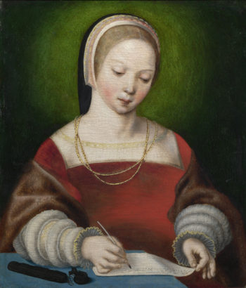 A Girl Writing | Netherlandish | oil painting