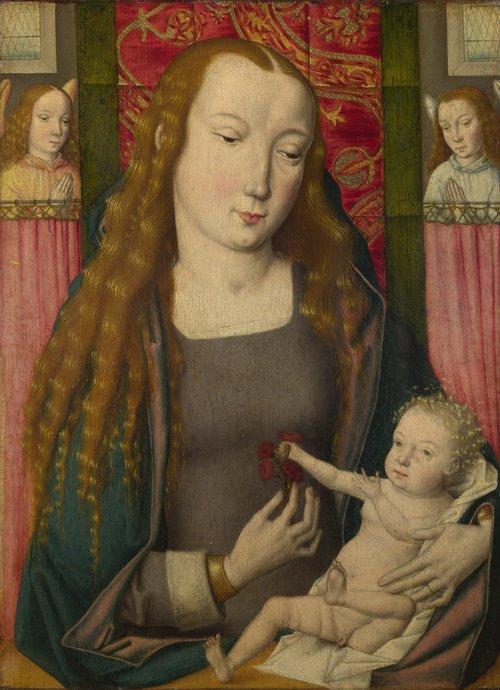 The Virgin and Child with Two Angels | Follower of the Master of the Saint Ursula Legend (Bruges) | oil painting