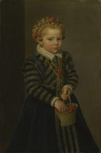A Little Girl with a Basket of Cherries | Netherlandish | oil painting