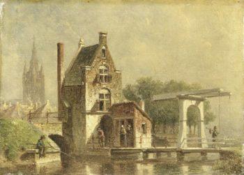 The Koepoort in Delft. 1850 - 1892 | Petrus Gerardus Vertin | oil painting