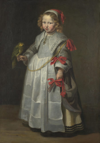 Portrait of a Girl with a Parrot | Netherlandish | oil painting