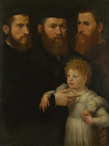 Three Men and a Little Girl | Netherlandish | oil painting