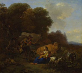 A Peasant playing a Hurdy-Gurdy to a Woman and Child   Nicolaes Berchem   oil painting