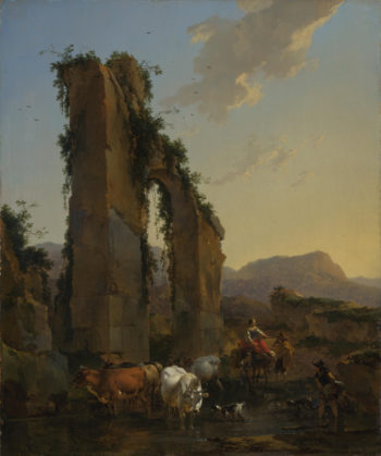 Peasants by a Ruined Aqueduct | Nicolaes Berchem | oil painting