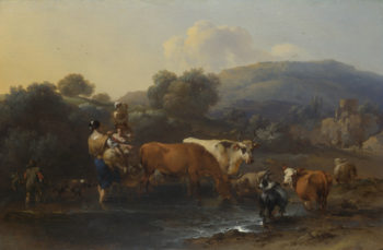Peasants with Cattle fording a Stream | Nicolaes Berchem | oil painting