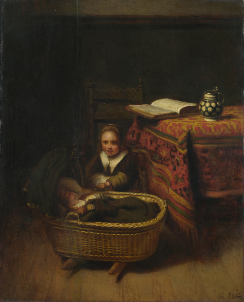 A Little Girl rocking a Cradle | Nicolaes Maes | oil painting