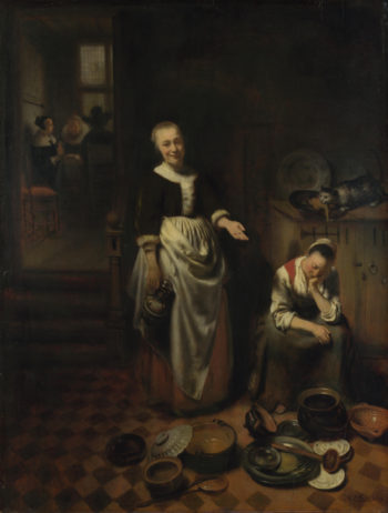 The Idle Servant   Nicolaes Maes   oil painting