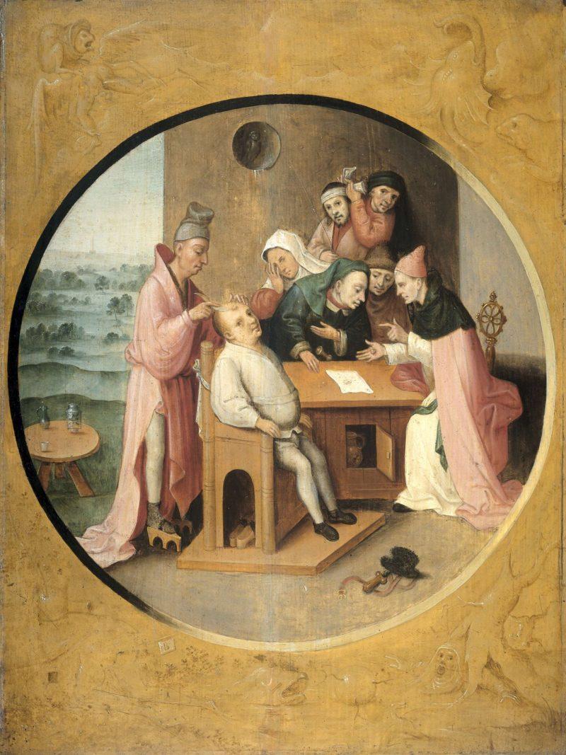Cutting the boulder.. ca. 1550 - ca. 1600 | Jheronimus Bosch | oil painting