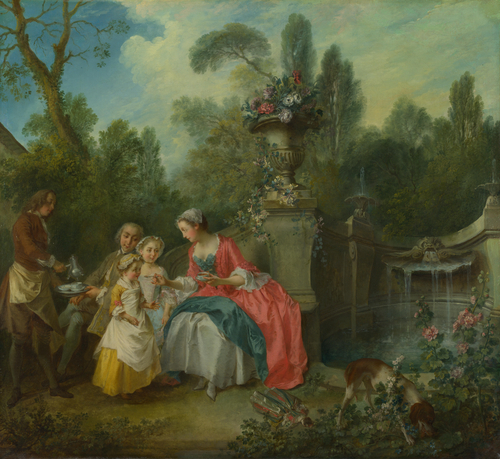A Lady in a Garden taking Coffee with some Children | Nicolas Lancret | oil painting