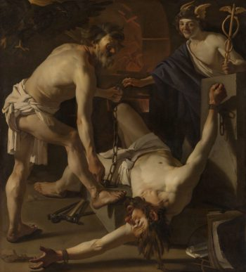 Prometheus Being Chained by Vulcan. 1623 | Dirck van Baburen | oil painting