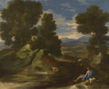 Landscape with a Man scooping Water from a Stream   Nicolas Poussin   oil painting