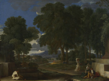 Landscape with a Man washing his Feet at a Fountain   Nicolas Poussin   oil painting