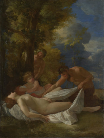 Nymph with Satyrs   Nicolas Poussin   oil painting