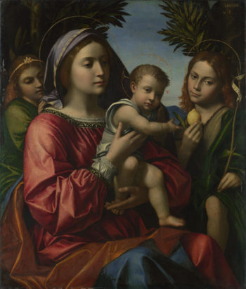 The Virgin and Child with the Baptist and an Angel | Paolo Morando | oil painting