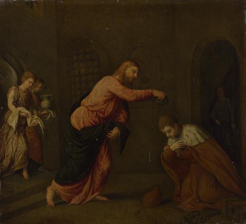 Christ baptising Saint John Martyr | Paris Bordone | oil painting