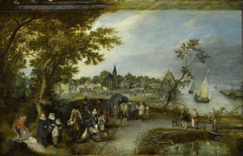 Landscape with figures and a village fair. 1615 | Adriaen Pietersz. van de Venne | oil painting
