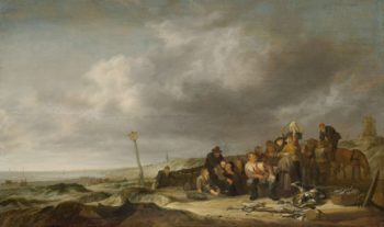 Beach with fishermen. 1630 - 1653 | Simon de Vlieger | oil painting