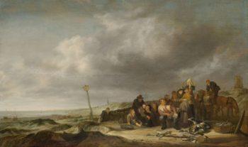 Beach with fishermen. 1630 - 1653 | Simon de Vlieger | oil painting