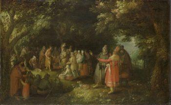 John the Baptist preaching. ca. 1610 | David Vinckboons | oil painting